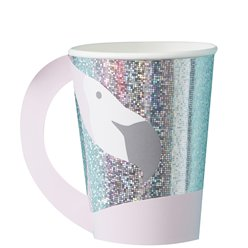 Good Vibes Holographic Flamingo Shaped Paper Cups - 255ml