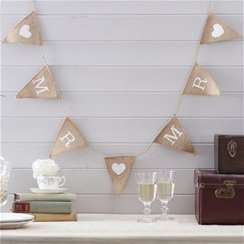 A Vintage Affair Hessian Mr & Mr Wedding Bunting - 1.5m
