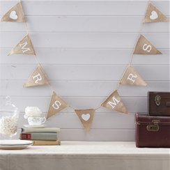 A Vintage Affair Hessian Mrs & Mrs Wedding Bunting - 1.5m
