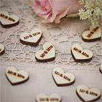 A Vintage Affair 'Mr and Mrs' Heart Wooden Wedding Confetti