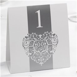 Vintage Romance - White/Silver Table Numbers