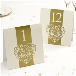 Vintage Romance - Ivory/Gold Table Numbers