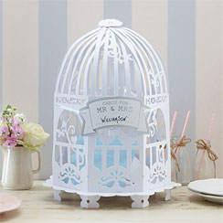 Vintage Lace Birdcage Wedding Card Holder - White