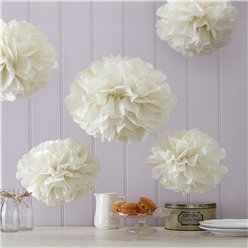 Vintage Lace Set of 5 Ivory Pom Pom Wedding Decorations