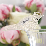 Vintage Lace Bird Wedding Place Cards for Glasses - Ivory