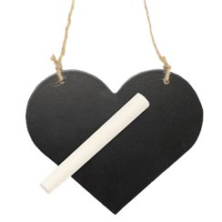 Wooden Blackboard Heart on String - 11.5cm