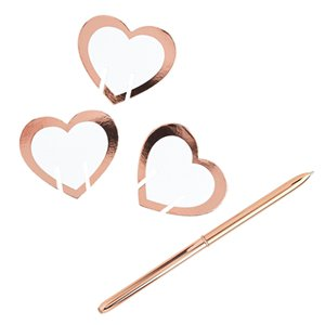 Rose Gold Heart Glass Markers - 6cm