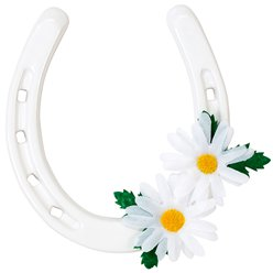 Ceramic White Daisy Lucky Horseshoe
