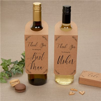 Hearts & Krafts Best Man & Usher Bottle Tag Wedding Favours