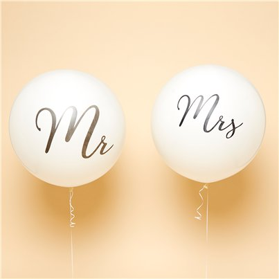 "Mr & Mrs Black Giant Balloons - 36"" Latex"