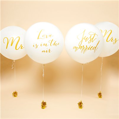 "Set of 4 Giant Wedding Balloons - 36"" Latex"