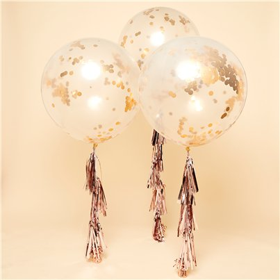 "Rose Gold Confetti Giant Balloon Kit - 36"" Latex"