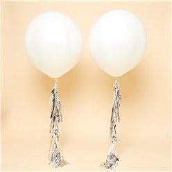 "White Silver Tassel Tail Giant Wedding Balloon Kit - 36"" Latex"