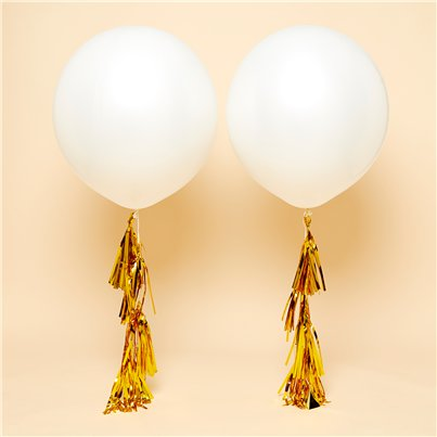 "White Gold Tassel Tail Giant Wedding Balloon Kit - 36"" Latex"