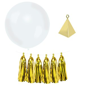 White Gold Tassel Tail Giant Wedding Balloon Kit - 36