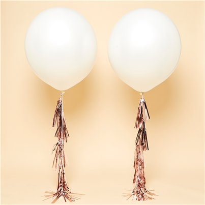 "White Rose Gold Tassel Tail Giant Wedding Balloon Kit - 36"" Latex"
