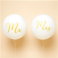 "Mr & Mrs Gold Giant Balloons - 36"" Latex"