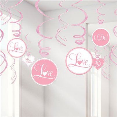 Pink Wedding Hanging Swirls Decoration - 60cm