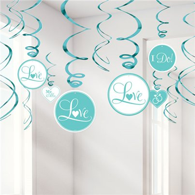 Robins Egg Blue Wedding Hanging Swirls Decoration - 60cm