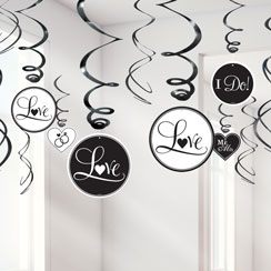 Black Wedding Decoration - 60cm Swirls