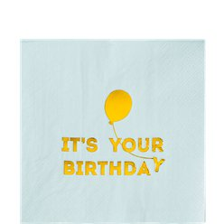 We Heart Birthdays Blue & Gold Paper Napkins - 33cm