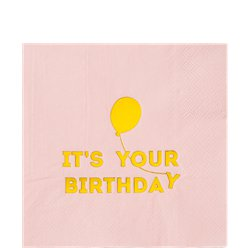 We Heart Birthdays Pink & Gold Paper Napkins - 33cm