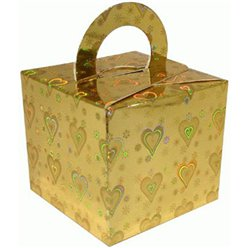 Holographic Heart Gold Cube Balloon Weight/Favour Boxes - 6.5cm