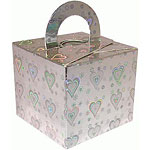 Holographic Silver Heart Cube Balloon Weight/Favour Boxes - 6.5cm