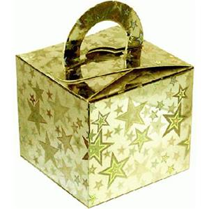 Holographic Star Gold Cube Balloon Weight/Favour Boxes - 6.5cm