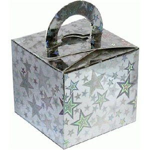 Holographic Silver Star Cube Balloon Weight/Favour Boxes - 6.5cm