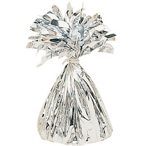 Age 50 Silver Foil Kit With Helium, Ribbon and Weights