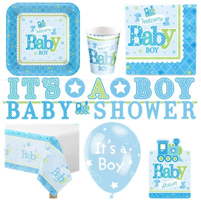 Welcome Baby Boy Deluxe Party Pack for 16