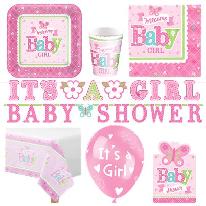 Welcome Baby Girl Deluxe Party Pack for 16