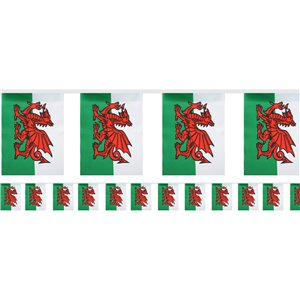 Welsh Flag Fabric Bunting - 6m