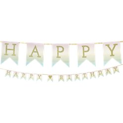 Pastel Ombre Happy Birthday Banner - 3m Paper Garland