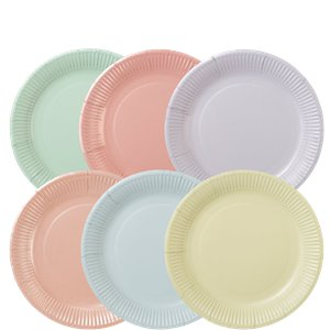 Pastel Plates in Assorted Colours - 23cm Paper Plates