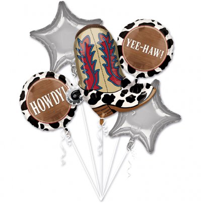 Western Party Balloon Bouquet - Assorted Foils