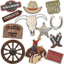 Western Party Card Cutouts