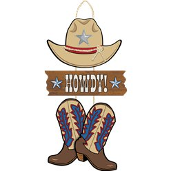 Western Party 'Howdy!' Wooden Triple Sign