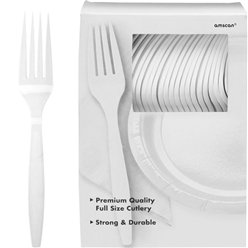 White Reusable Forks - 100pk