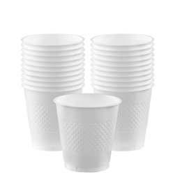 White Cups - 266ml Plastic Party Cups