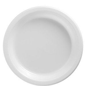White Plates - 23cm Plastic Party Plates