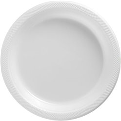 White Serving Plates - 26cm Plastic