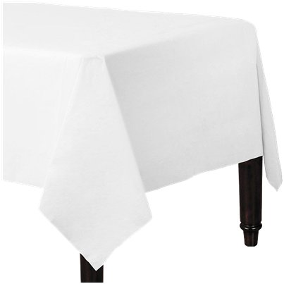 White Plastic Lined Paper Tablecover - 1.4m x 2.8m