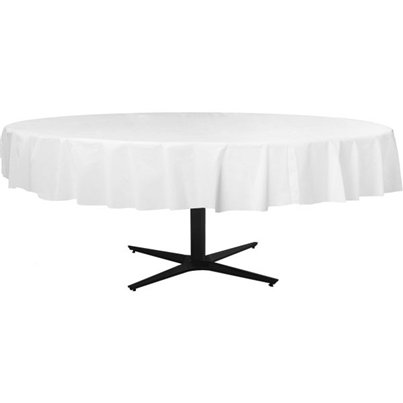 White Round Tablecover - Plastic - 2.1m
