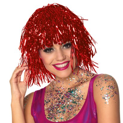 Tinsel Red Wig front
