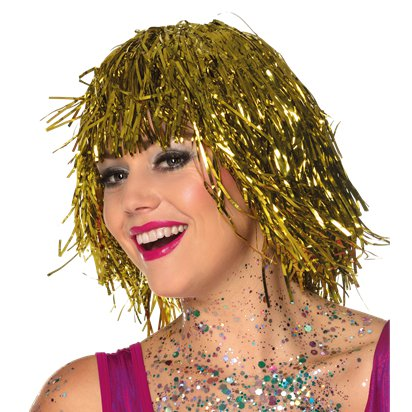Gold Tinsel Wig - Adults Fancy Dress Wigs front