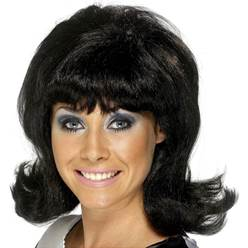 60's Flick Up Wig - Black