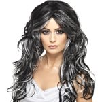 Gothic Bride Halloween Wig - Grey & Black