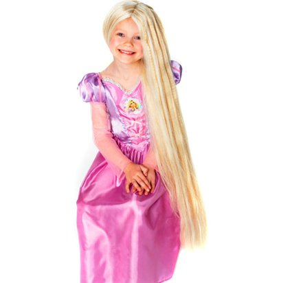 Childrens Glow in the Dark Blonde Wig - Rapunzel Hair front